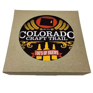 Set of 6 Square Paperboard Coasters w/ Natural Kraft Box