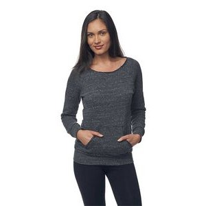 Women's Eco Triblend Fleece Raw Neck Sweater w/ Kangaroo Pocket