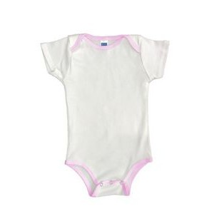 Organic Infant One Piece Contrast Binding (Sizes 3/6, 6/12, 12/18, 18/24)